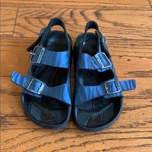 Birkenstock blue shiny rubber sandals sz 37 6-6.5